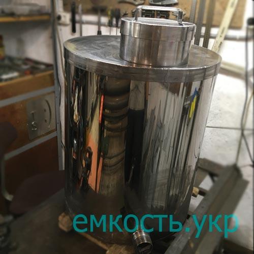 Бочка из пищевой нержавейки 107 литров с уклоном дна и двойной крышкой